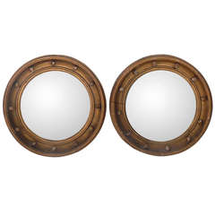 Pair of Gilt 19th Century Convex Mirrors