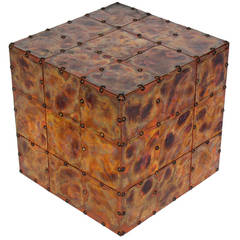 Copper Cube Table with Great Patina
