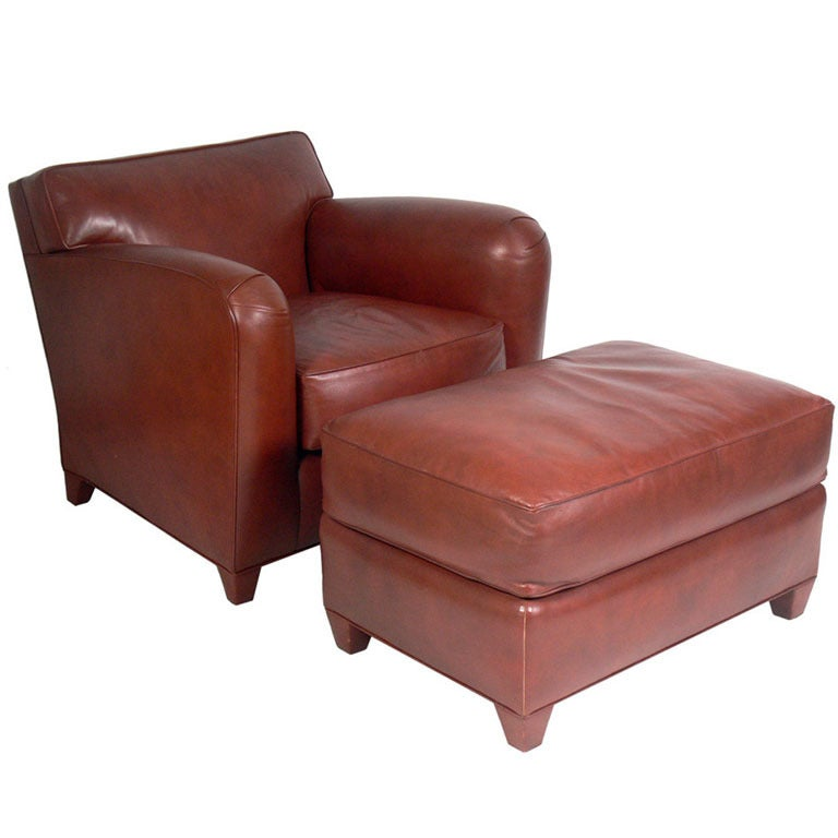 Donghia Cognac Leather Lounge Chair and Ottoman at 1stdibs