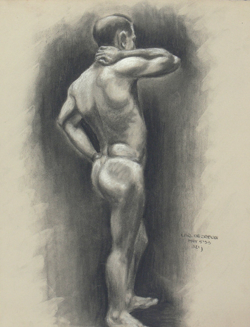 Selection of 1930's Academic Study Drawings of Male Nudes, hand drawn by Carl De Zeeuw, American, circa 1930's. The price noted below is for EACH drawing and does NOT include the frame.