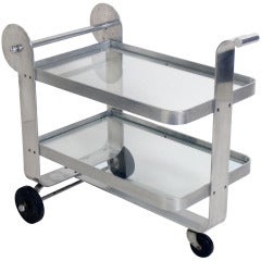 Streamlined Aluminum Art Deco Bar Cart