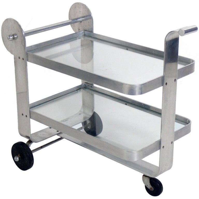 Streamlined Aluminum Art Deco Bar Cart At 1stdibs