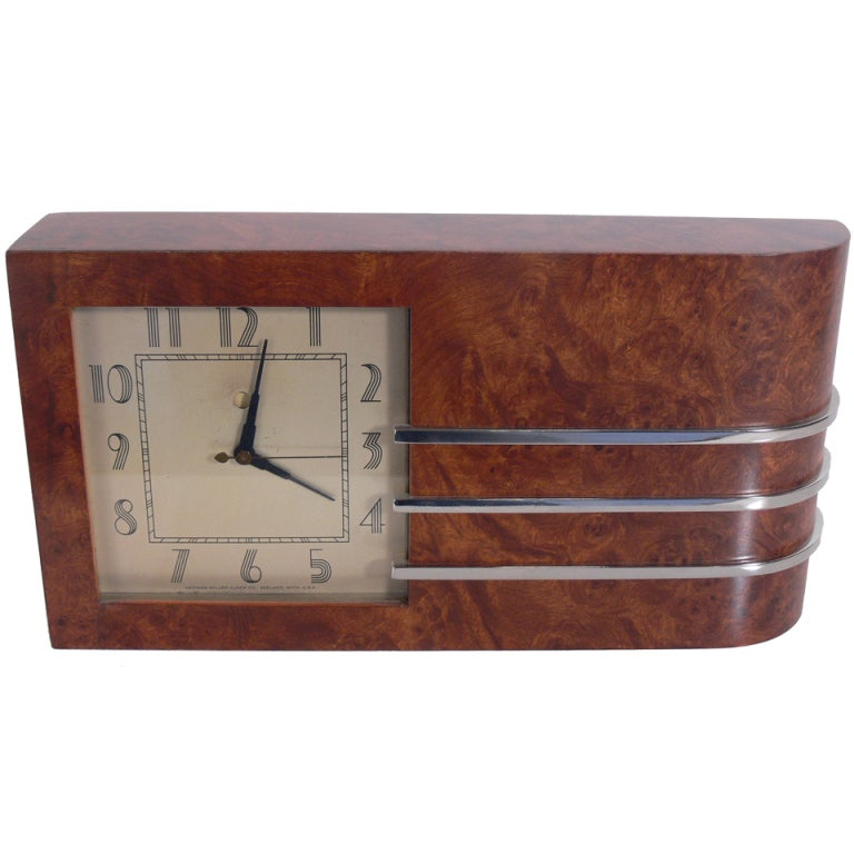 Streamlined Art Deco Clock by Gilbert Rohde