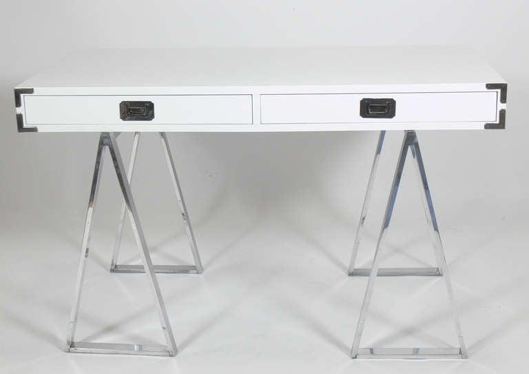 Lacquer Campaign Desk at 1stdibs