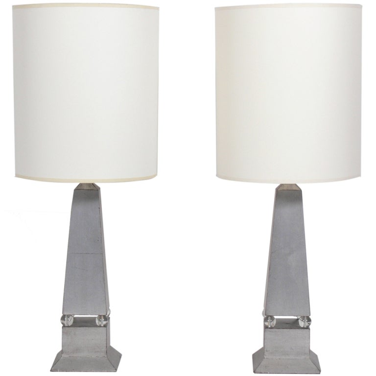 Pair of 1930's Silver Leaf Obelisk Lamps