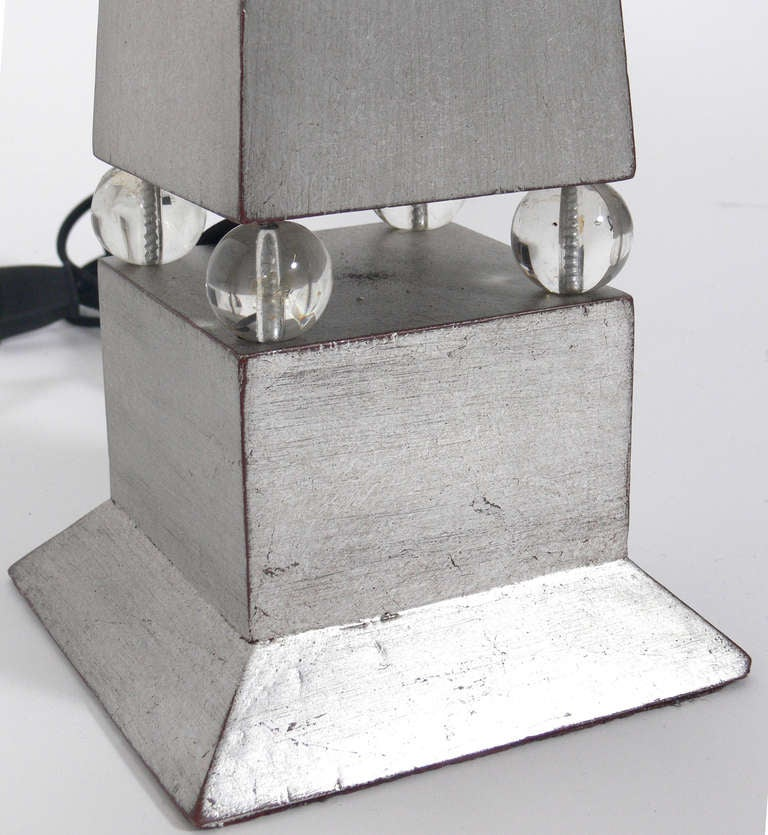 American Pair of 1930's Silver Leaf Obelisk Lamps For Sale