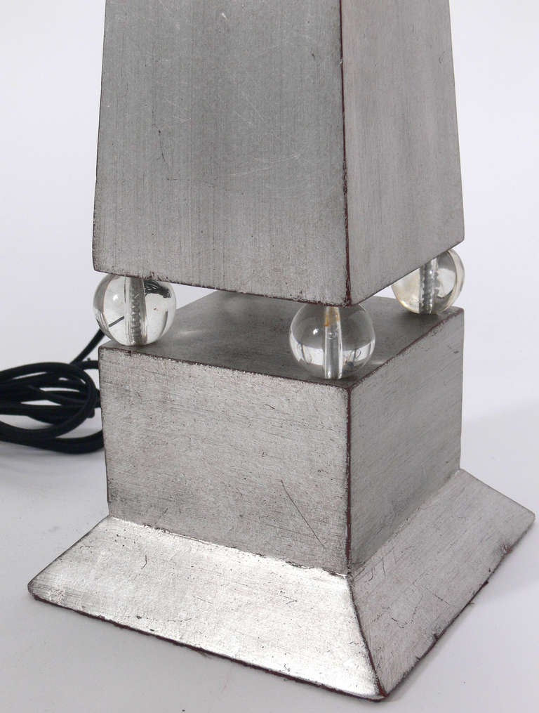 Mid-20th Century Pair of 1930's Silver Leaf Obelisk Lamps For Sale