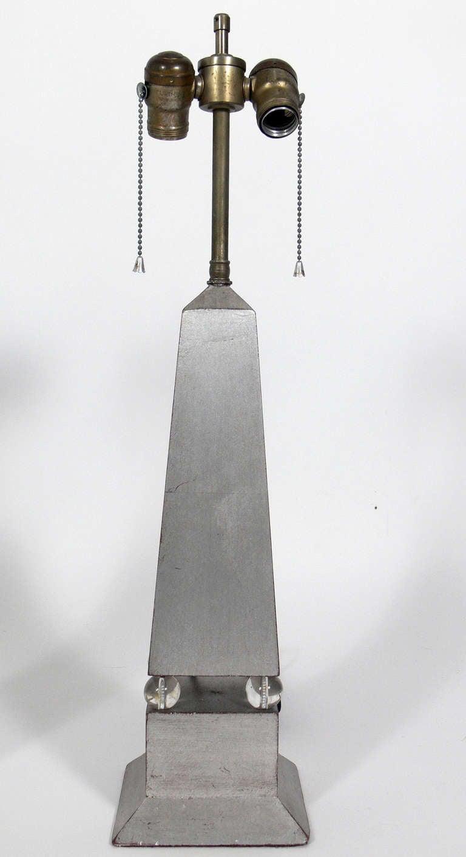 Hollywood Regency Pair of 1930's Silver Leaf Obelisk Lamps For Sale