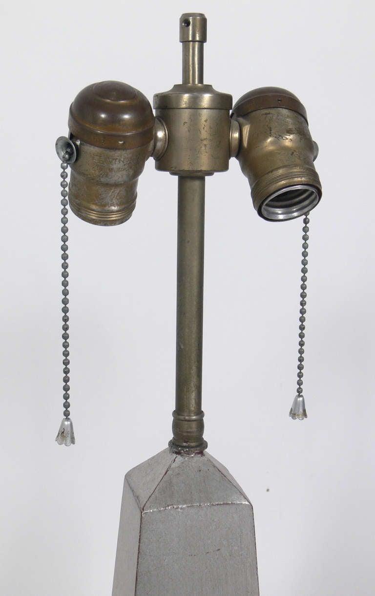 Pair of 1930's Silver Leaf Obelisk Lamps For Sale 1