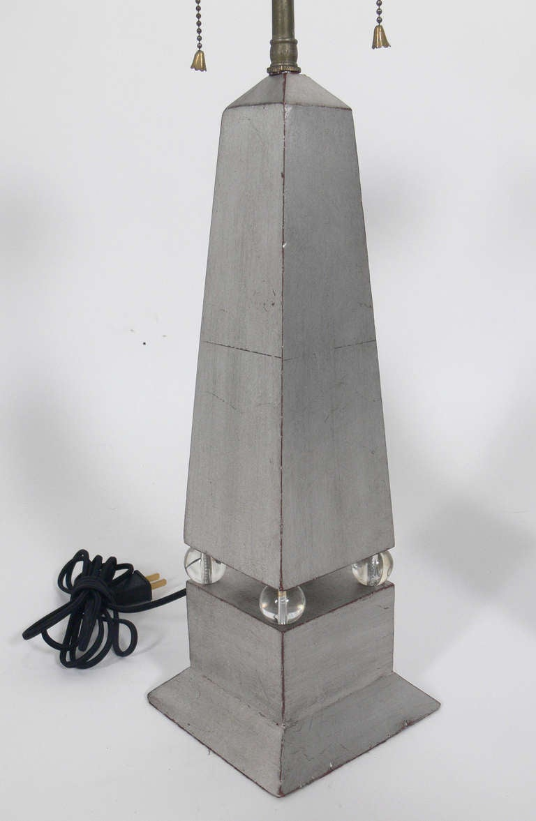 Pair of 1930's Silver Leaf Obelisk Lamps In Excellent Condition For Sale In Atlanta, GA