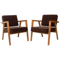 Pair of Clean-Lined Armchairs Designed by Franco Albini