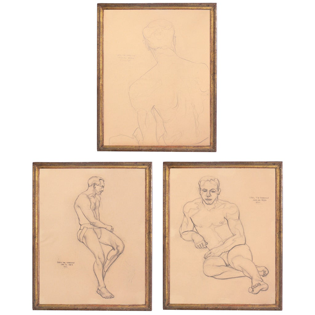 Selection of 1930s Academic Study Drawings of Male Nudes