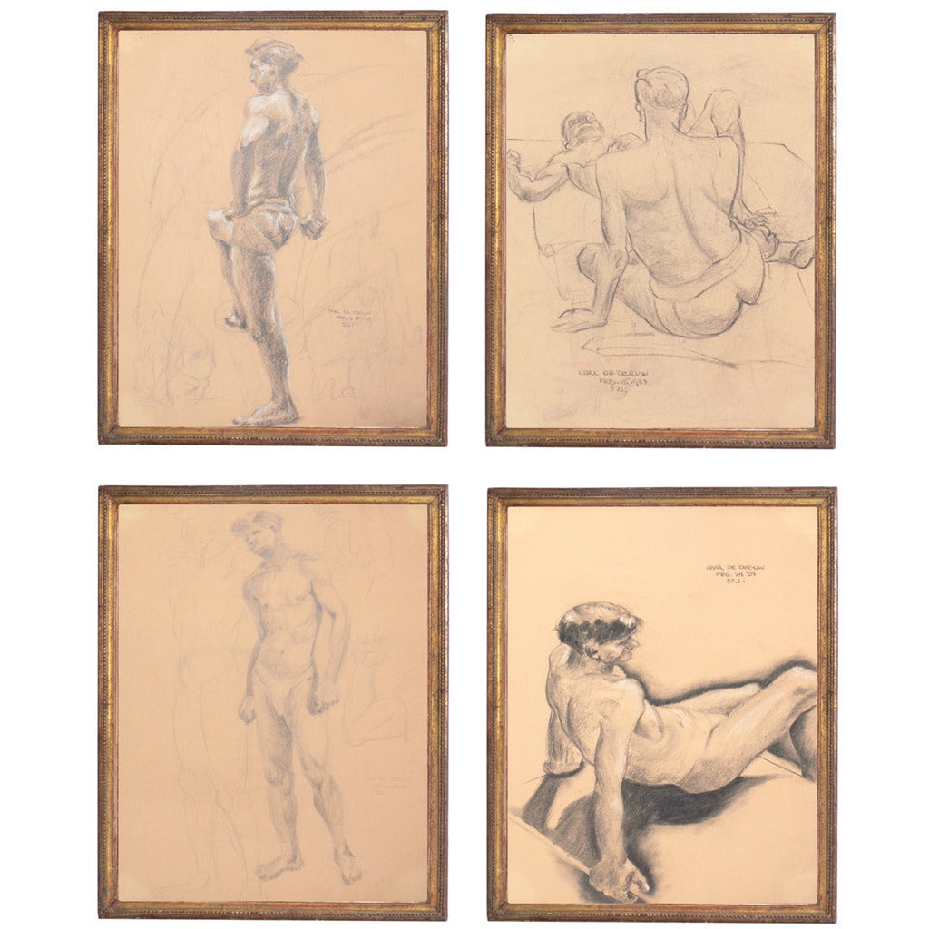 Selection of 1930s Academic Study Drawings of Male Nudes For Sale