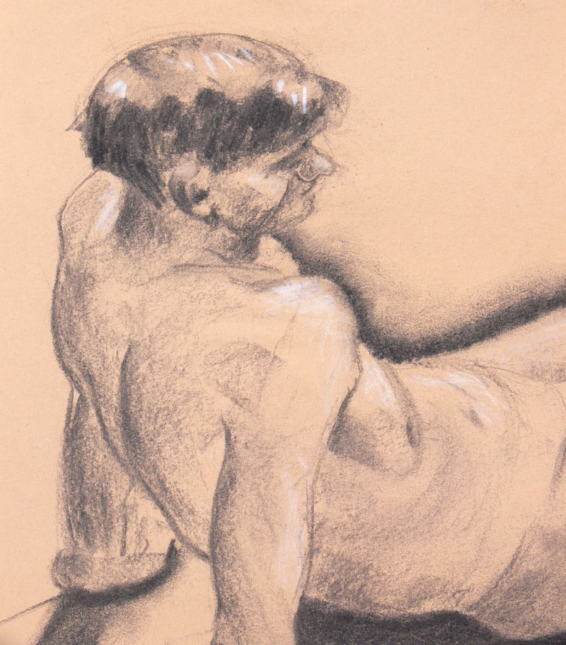 Paper Selection of 1930s Academic Study Drawings of Male Nudes For Sale