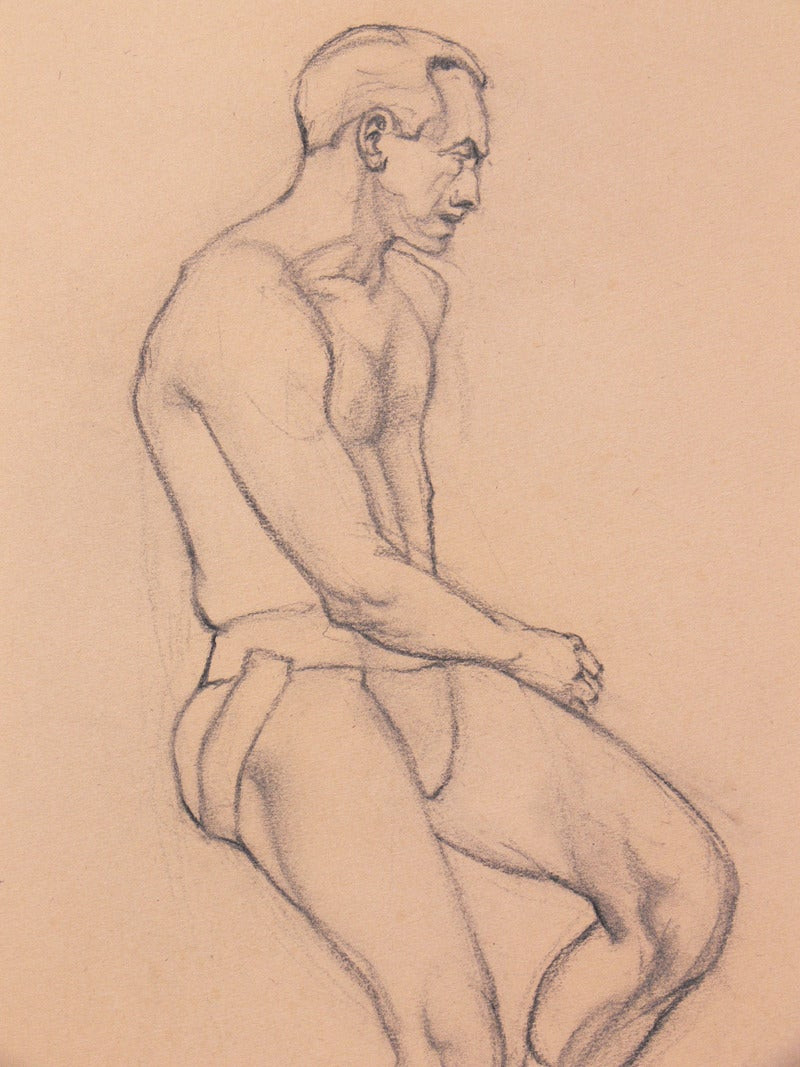 American Selection of 1930s Academic Study Drawings of Male Nudes For Sale