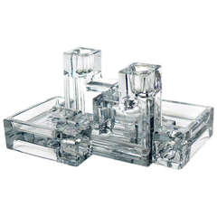 """Wilber Orme """"Pristine Table Architecture"""" Art Deco Glass Candle Holders"""