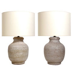 Pair of Ivory Color Textured Ceramic Lamps