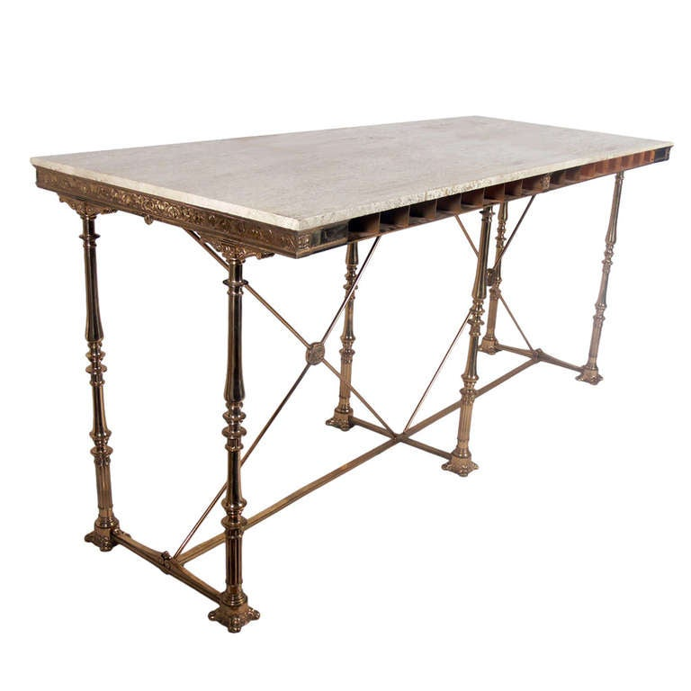 Large bronze 193039s bank table great kitchen island bar for 1930 kitchen table