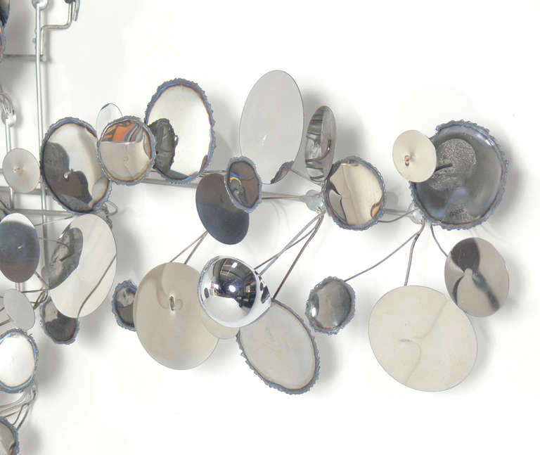 """Mid-Century Modern Large Chrome """"Raindrops"""" Wall Sculpture by C. Jere For Sale"""