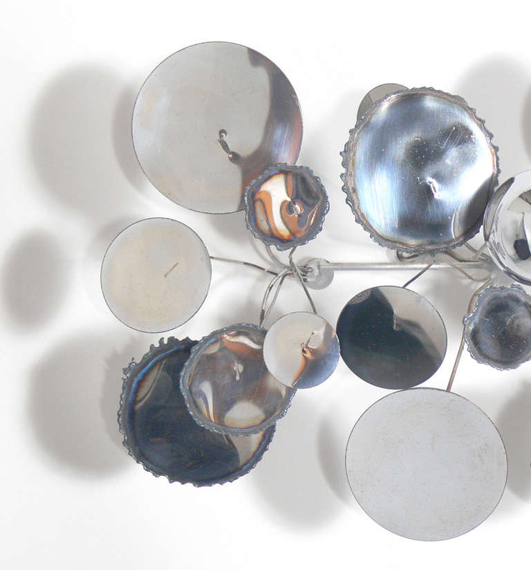 """American Large Chrome """"Raindrops"""" Wall Sculpture by C. Jere For Sale"""