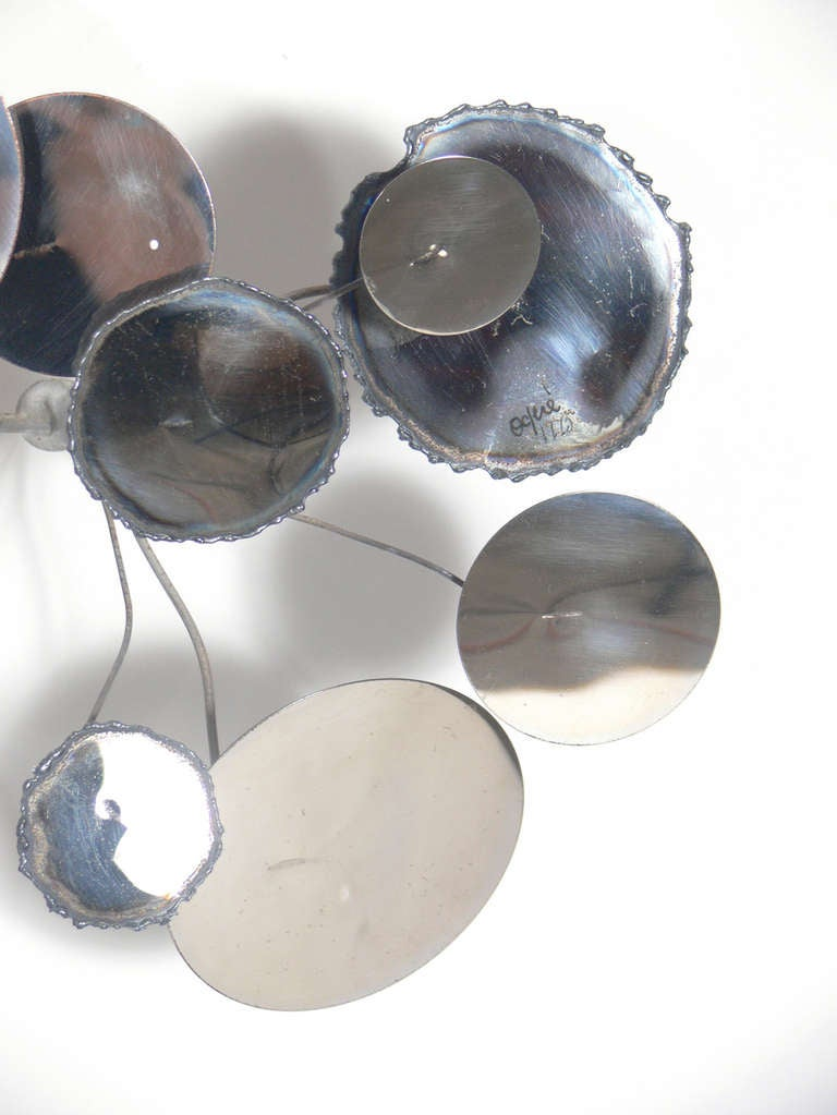 """Large Chrome """"Raindrops"""" Wall Sculpture by C. Jere In Excellent Condition For Sale In Atlanta, GA"""