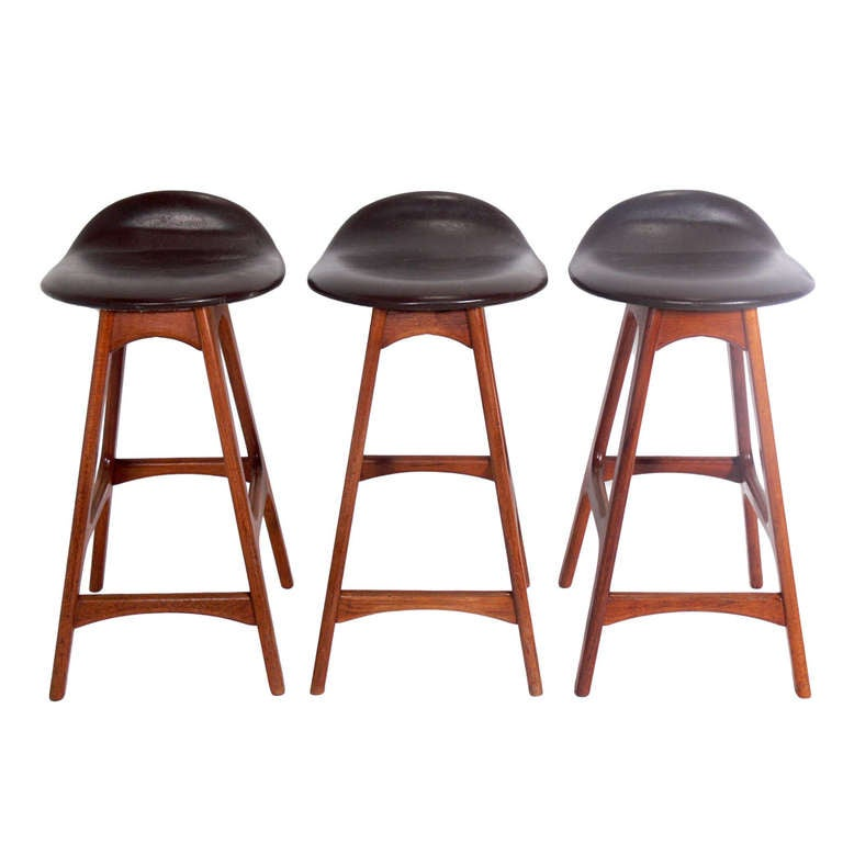 Set Of Low Slung Danish Modern Bar Stools By Erik Buck At