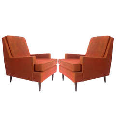 Pair of Clean Lined Modernist Lounge Chairs in the manner of Paul McCobb