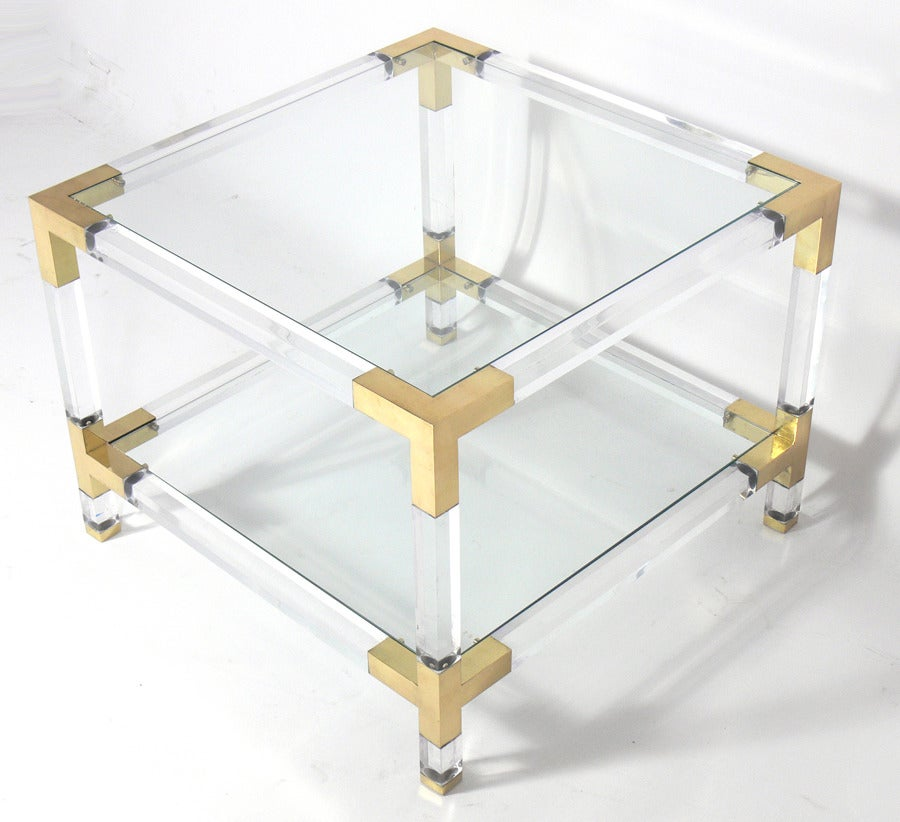Pair Of Lucite And Brass End Tables For Sale At 1stdibs