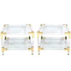 Pair of Lucite and Brass End Tables