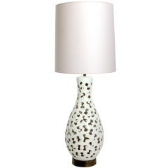 Large Sculptural Ceramic Lamp with Biomorphic Cut Outs