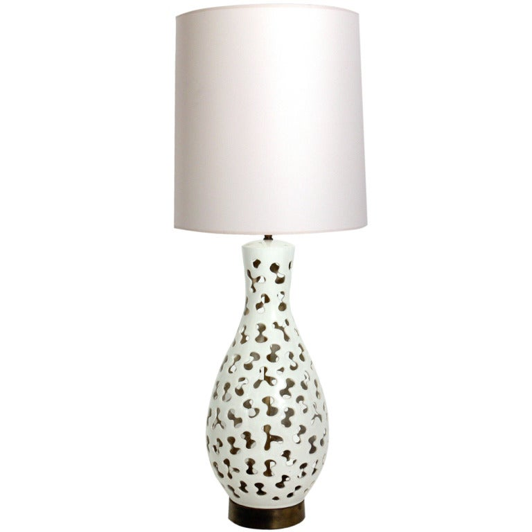 Mid century modern textured ceramic lamp with leaf cut outs and lit large sculptural ceramic lamp with biomorphic cut outs aloadofball Choice Image