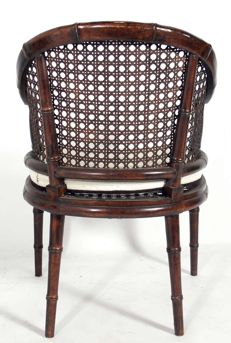 Pair Of Caned Faux Bamboo Chairs At 1stdibs
