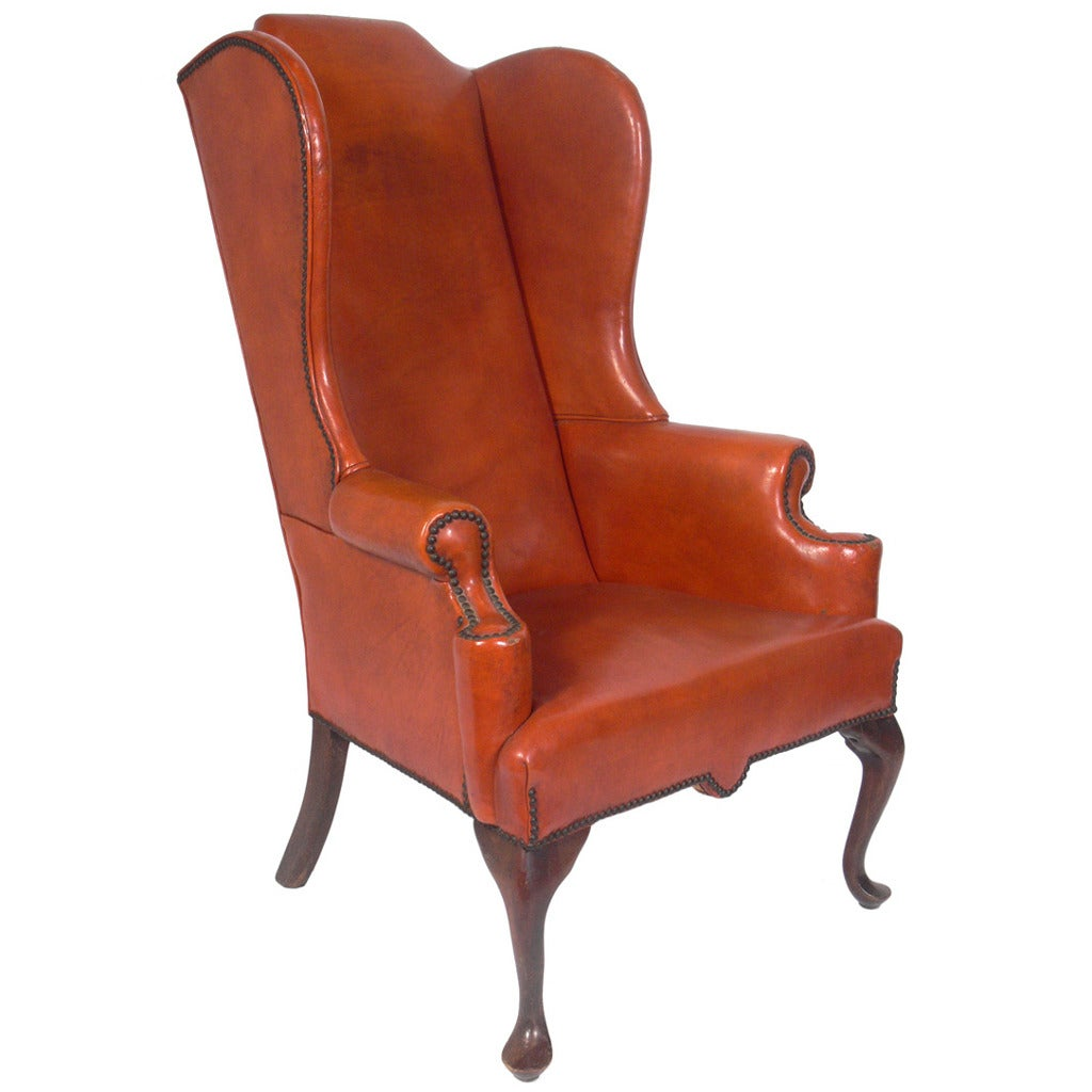 Cognac Leather Wingback Chair 2