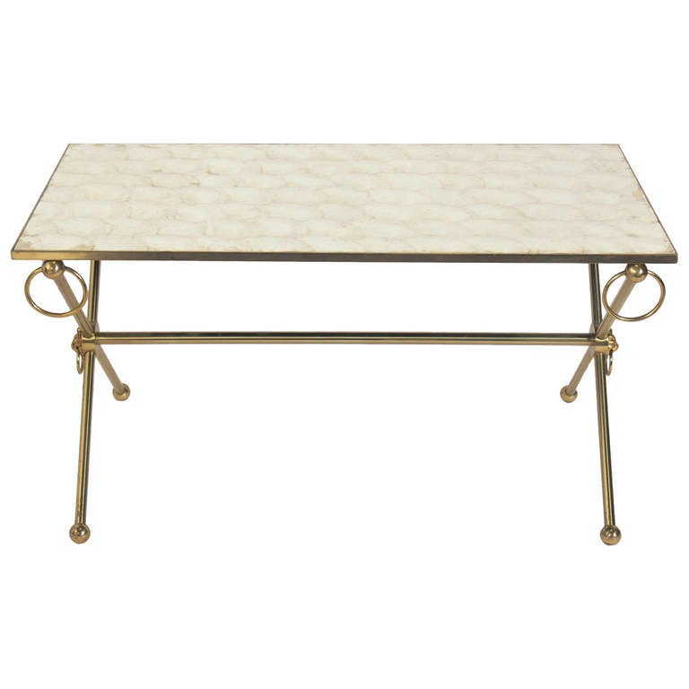 Capiz Shell and Brass Coffee Table