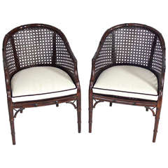 Pair of Caned Faux Bamboo Chairs