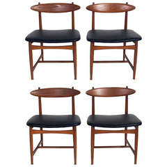 Set of Four Danish Modern Dining Chairs in the manner of Hans Wegner