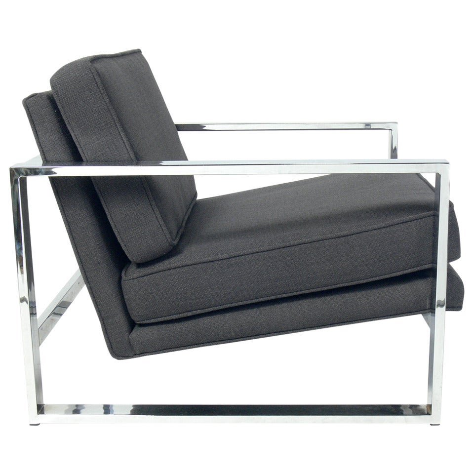 Clean Lined Chrome Lounge Chair In The Manner Of Milo