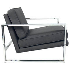 Clean-Lined Chrome Lounge Chair in the Manner of Milo Baughman,