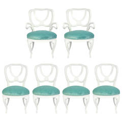 Set of Six White Lacquer Dining Chairs