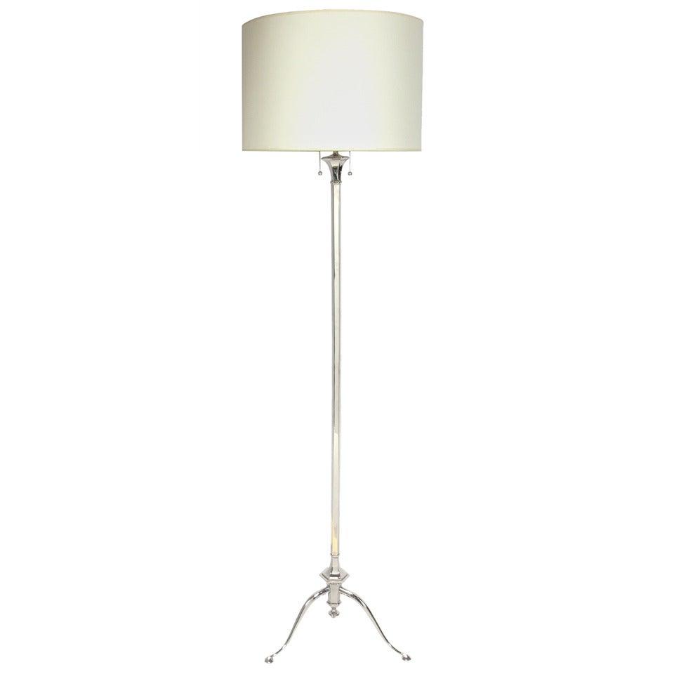 Nickel Plated Floor Lamp, circa 1940s
