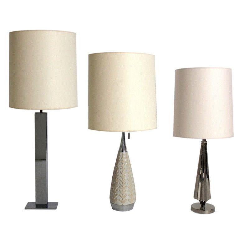 Modernist Nickel Lamps