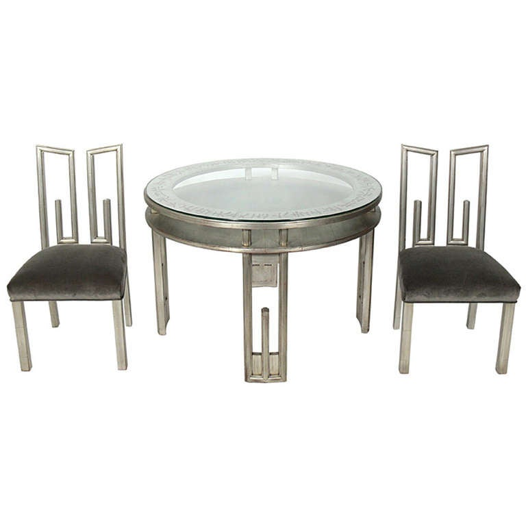 James mont silver leaf dining or game table and four chairs for sale at 1stdibs - Silver dining table and chairs ...
