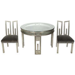 James Mont Silver Leaf Dining or Game Table and Four Chairs