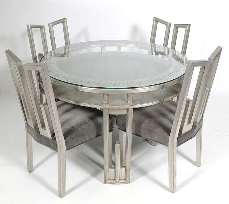James Mont Silver Leaf Dining Or Game Table And Four