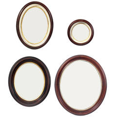 Group of Antique Mahogany Porthole Mirrors