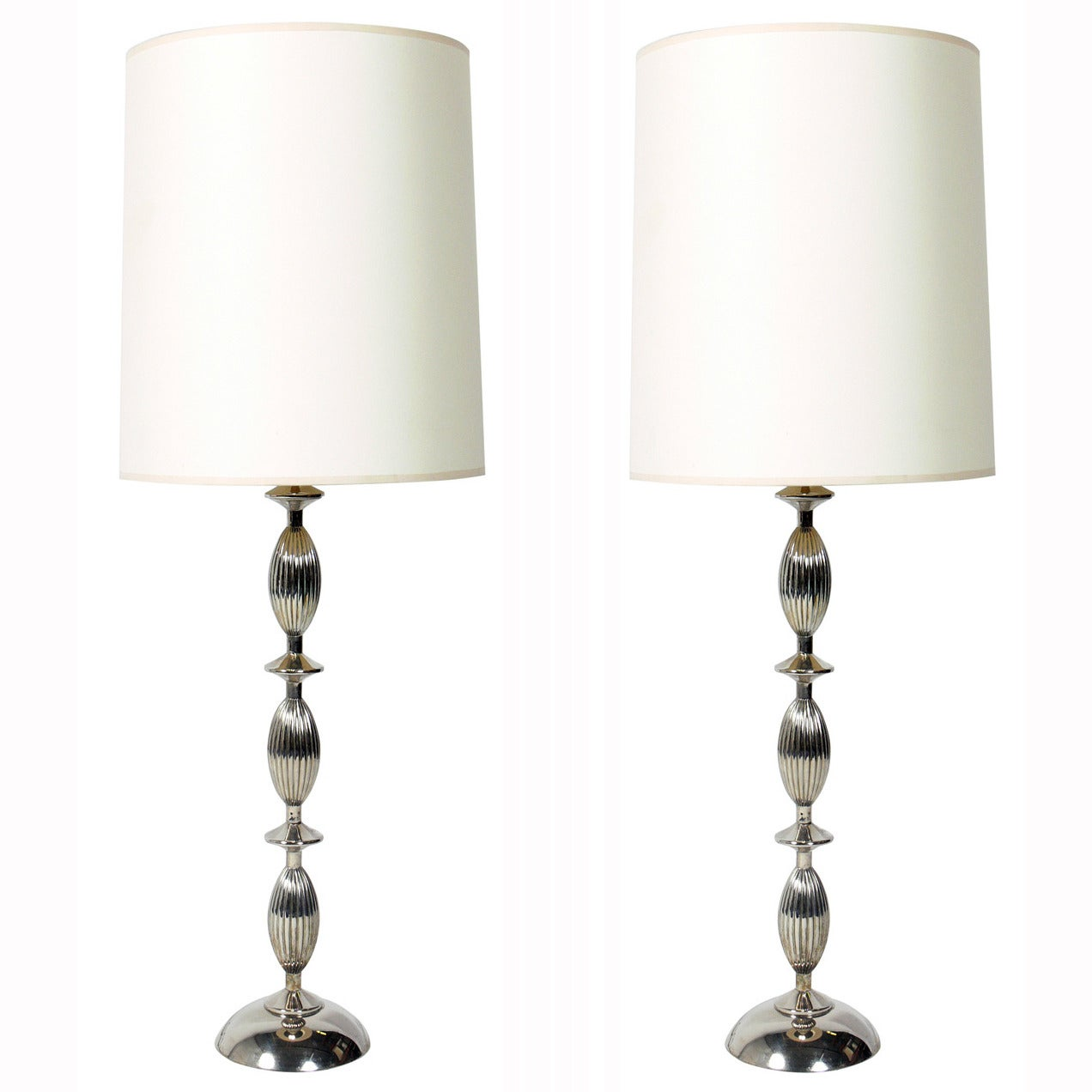 Pair of Elegant Nickel Plated Lamps