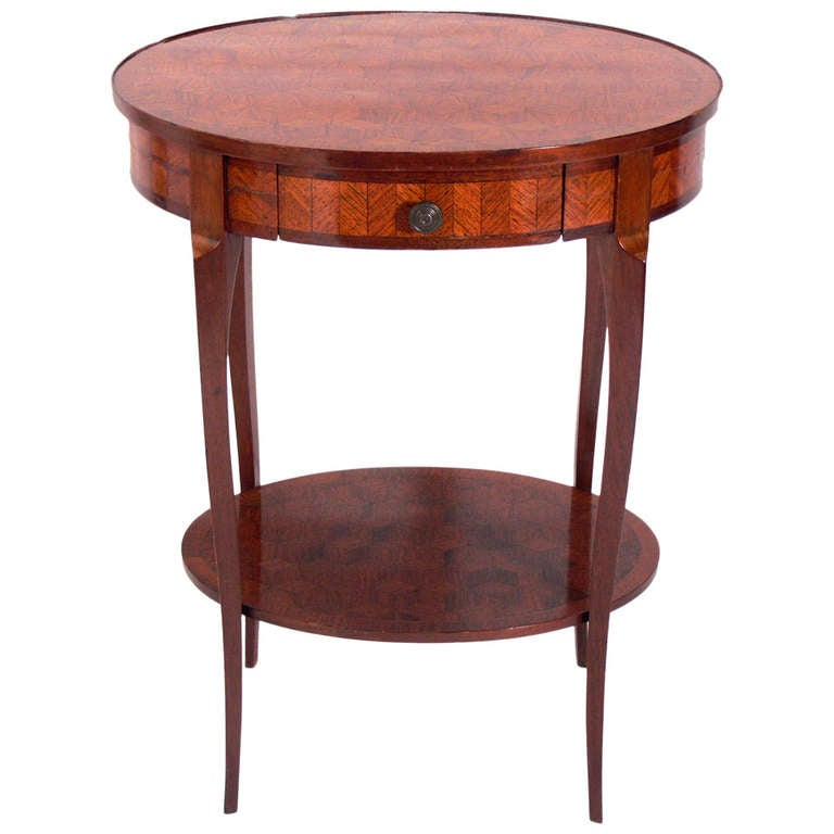 rosewood side table with interesting geometrical marquetry