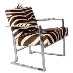 Modernist Lounge Chair in Aluminum and Zebra Hide