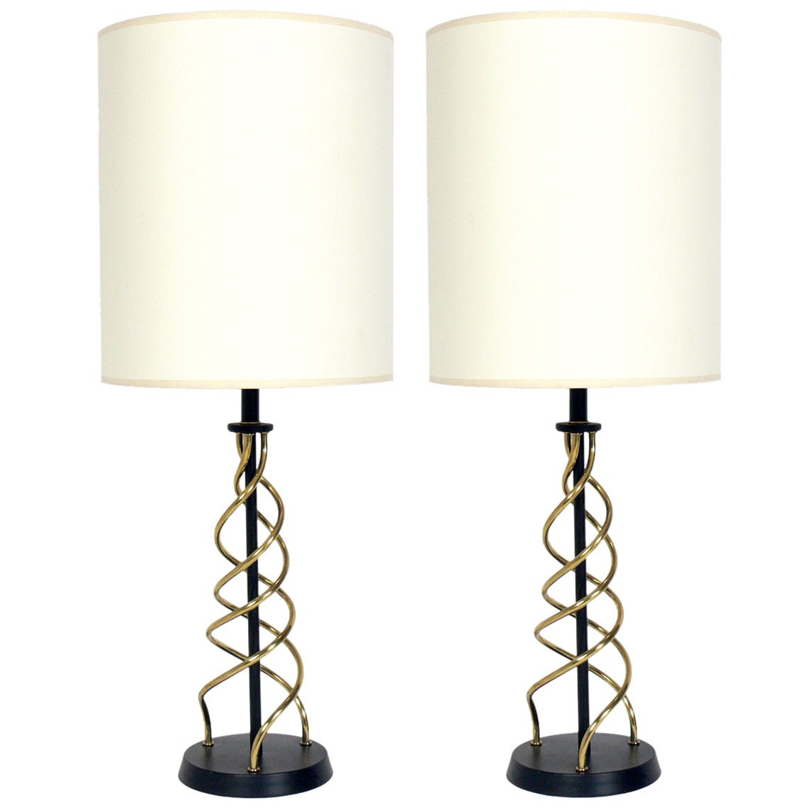 Pair of Sculptural Black and Brass Swirl Lamps