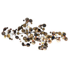 """Large Brass, """"Raindrops"""" Wall Sculpture by C. Jere"""